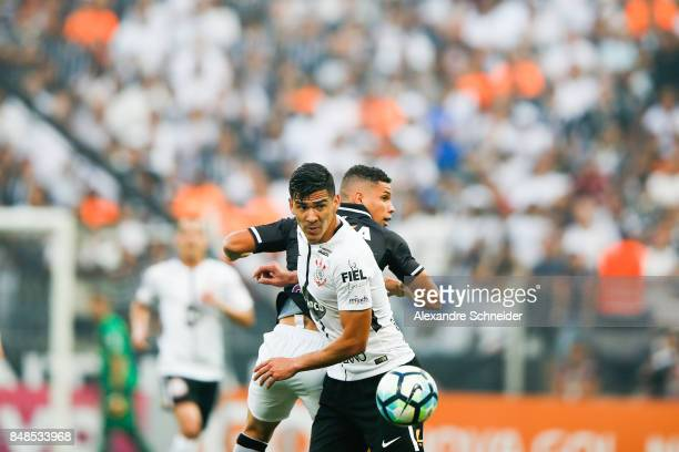 Balbuena of Corinthians and Paulinho of Vasco da Gama in action during the match between Corinthians and Vasco da Gama for the Brasileirao Series A...