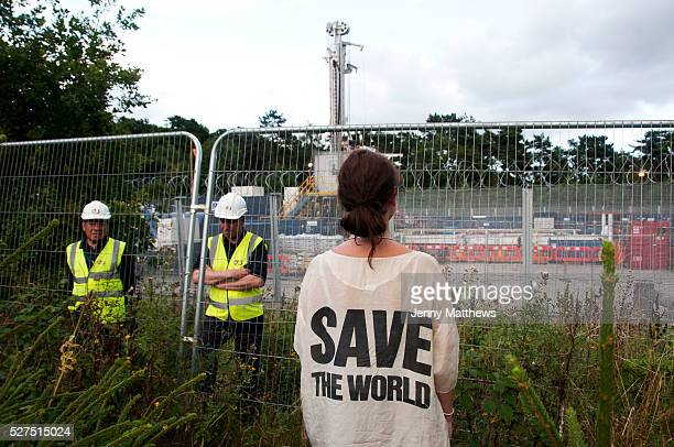 Balcombe West Sussex Site of Cuadrilla drilling Demonstration against fracking Protester wearing Katherine Hammett silk t shirt from the eighties...