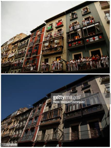 In this beforeandafter composite image **TOP IMAGE** PAMPLONA SPAIN JULY 08 Revellers stand on balconies to watch Jose Escolar Gil's fighting bulls...