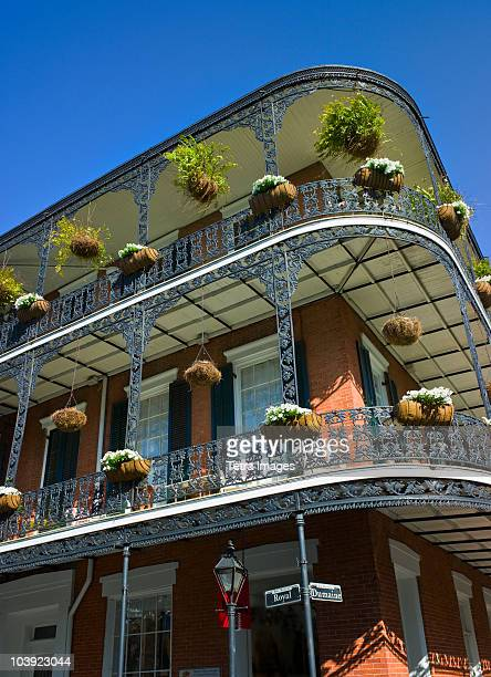 balconies in french quarter of new orleans - new orleans french quarter stock photos and pictures
