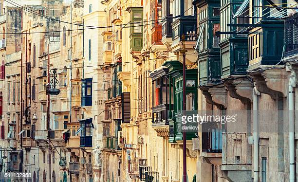 balconies in valletta, malta - valletta stock pictures, royalty-free photos & images