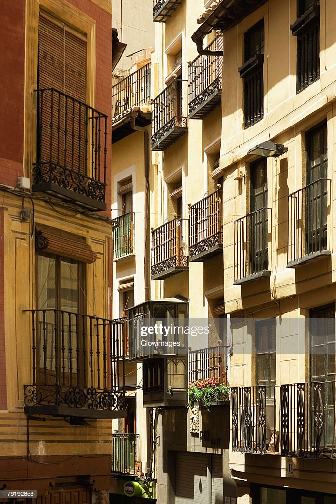 Balconies of buildings, Toledo, Spain : Foto de stock
