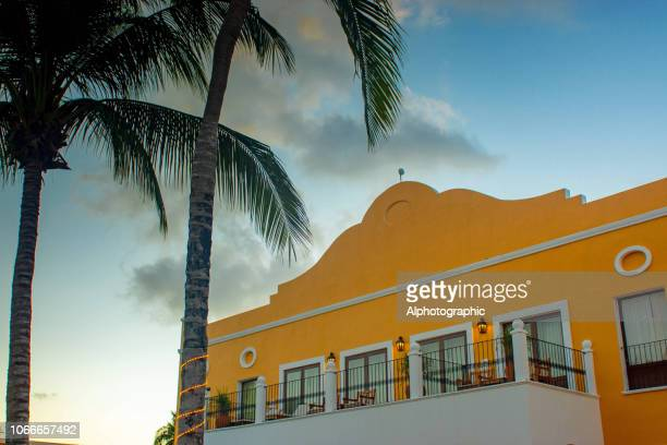 balconies on a high end beach property in mexico - quintana roo stock photos and pictures