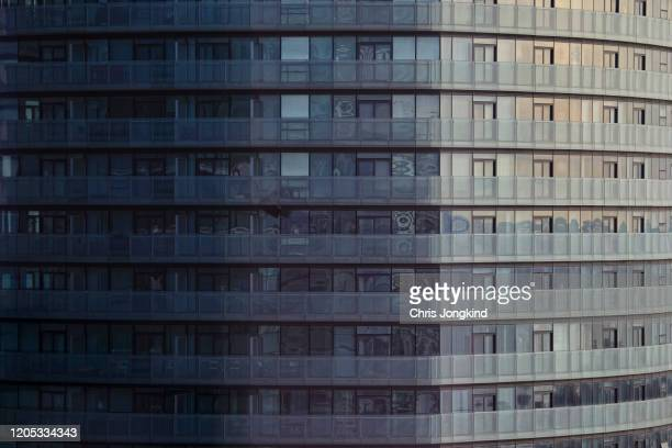 balconies on detail of tall residential building - wall building feature stock pictures, royalty-free photos & images