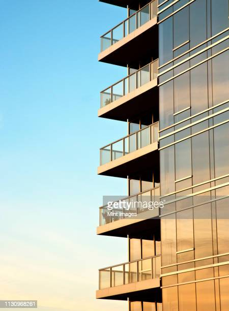 balconies on skyscraper - apartment balcony stock pictures, royalty-free photos & images