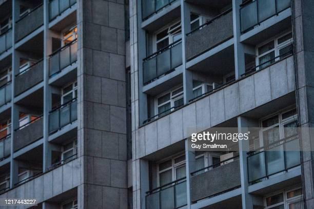 Balconies remain empty on the Brandon Estate in Kennington despite a social media campaign to applaud Prime Minister Boris Johnson at 8pm on April 6...