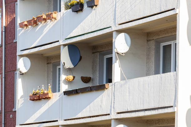 Balconies with satellite dishes
