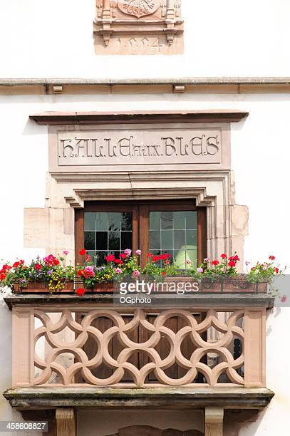 balcony and windows on the old corn exchange, obernai, france - ogphoto stock pictures, royalty-free photos & images
