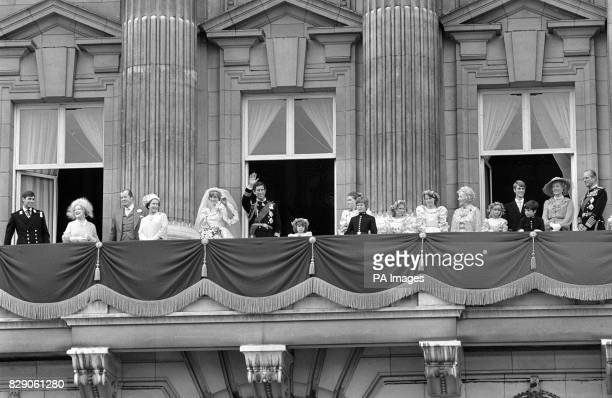 Balcony appearances at Buckingham Palace London after the Royal Wedding at St Paul's Cathedral with left to right Prince Andrew The Queen Mother Earl...