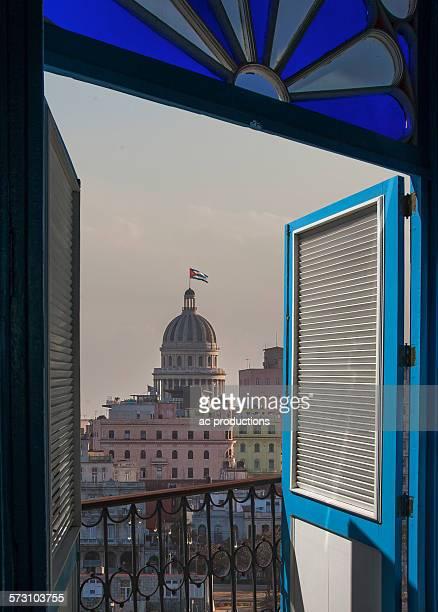 Balcony doors over cityscape, Havana, Cuba