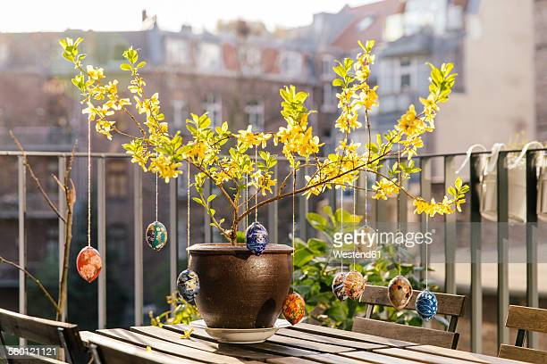 Balcony Easter decoration in Forsythia