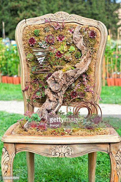 balcony garden in antique chair - hanging basket stock pictures, royalty-free photos & images