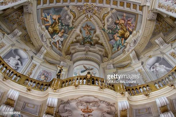 Balcony glimpse of the central hall with frescoes by Domenico and Giuseppe Valeriani Hunting residence by Filippo Juvarra Stupinigi Piedmont Italy...