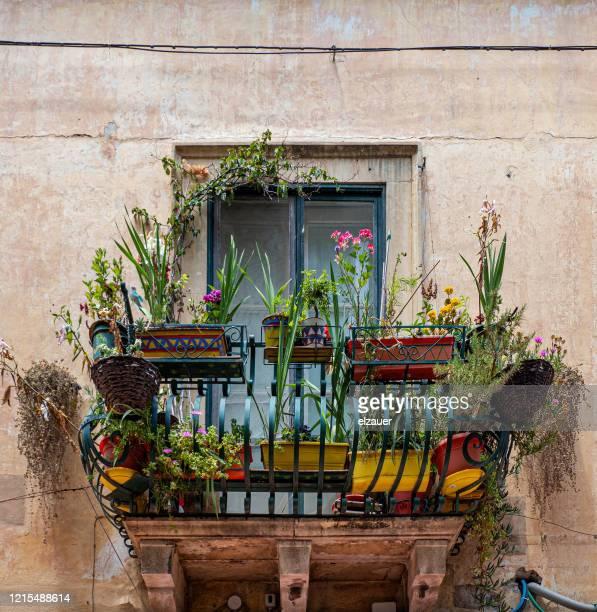 balcony in taormina - taormina stock pictures, royalty-free photos & images
