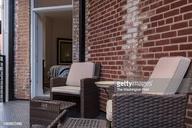 Balcony in Unit 208 of the historically renovated building at 1745 N Condominiums on October 31 2018 in Washington DC