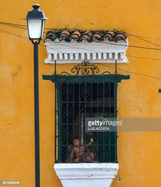 A balcony is seen in Santa Cruz de Mompox Department of Bolivar September 23 2017 the Colombian town on the banks of the great river Magdalena to...