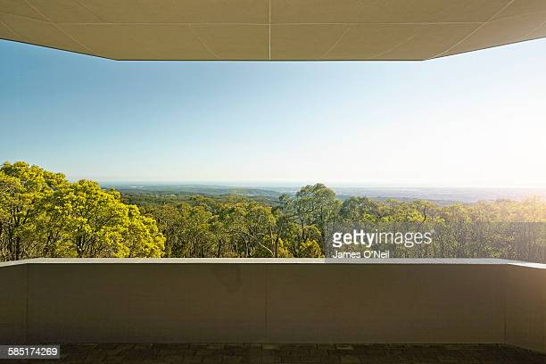 balcony looking out to forest - balcony stock pictures, royalty-free photos & images