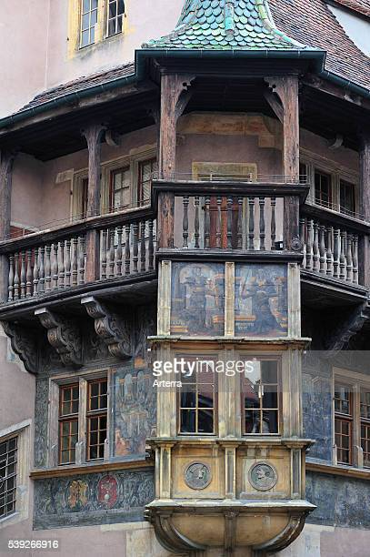 Balcony of the medieval house Maison Pfister at Colmar Alsace France