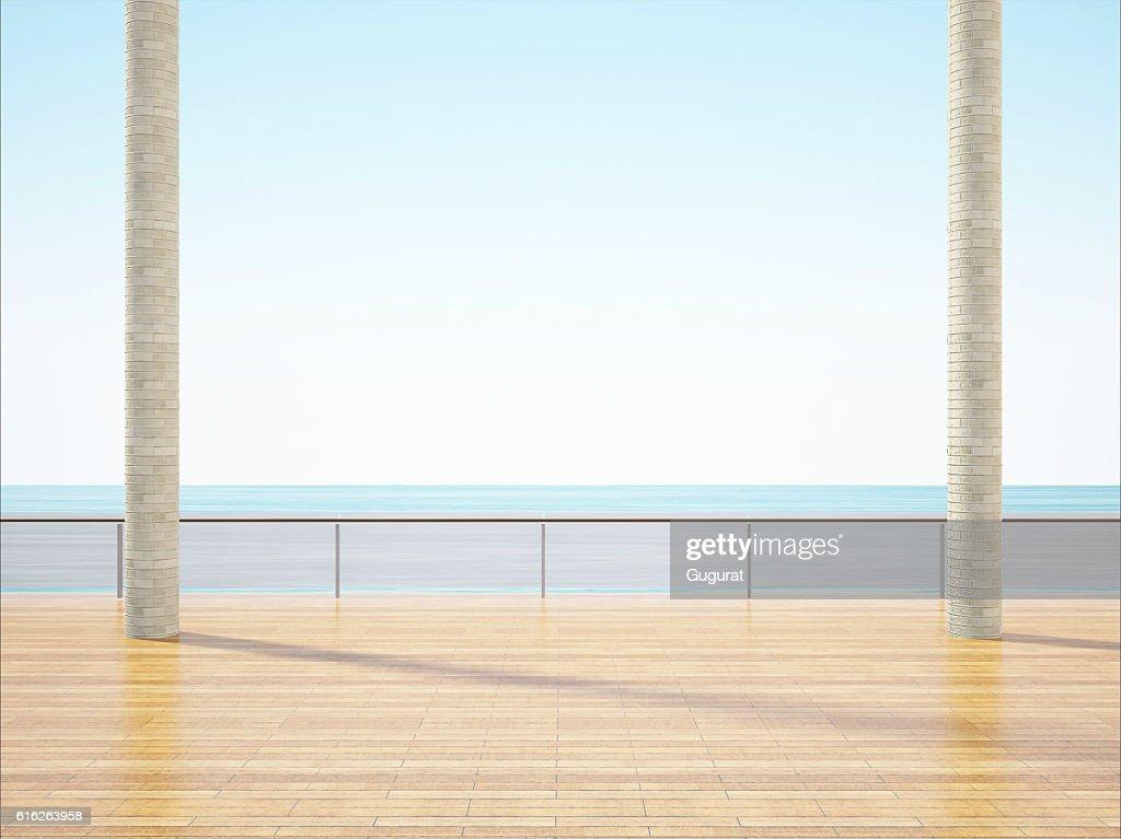 Balcony on the beach minimal beautiful shape : Stock Photo