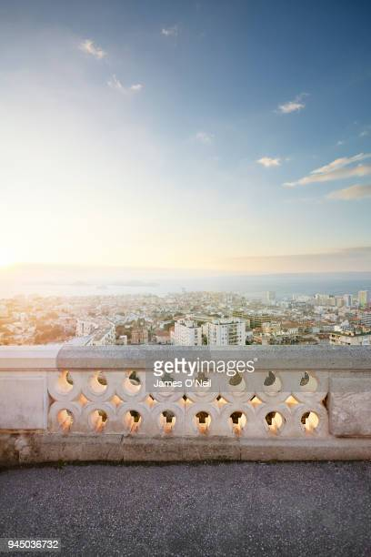 balcony overlooking marseille at dusk, france - marseille photos et images de collection