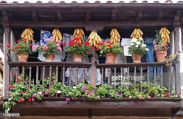 balcony typical cantabria. spain - cantabria fotografías e imágenes de stock