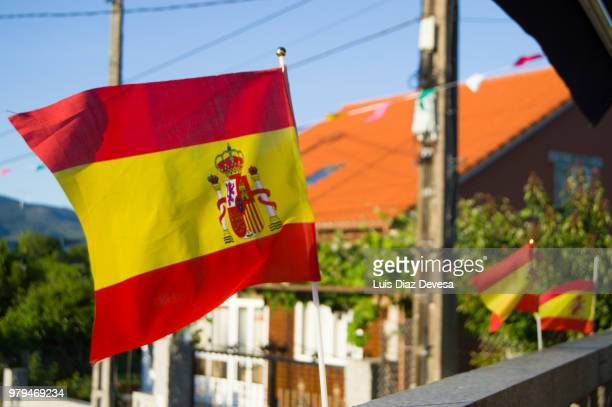 balcony with flags of spain