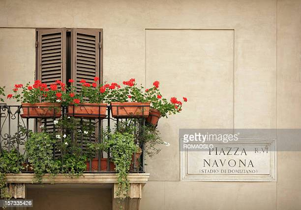 Balcony with flowers - Piazza Navona  Rome, Italy