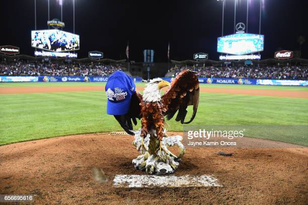 Bald Eagle statue sits on the mound after the United States 80 win over team Puerto Rico during Game 3 of the Championship Round of the 2017 World...