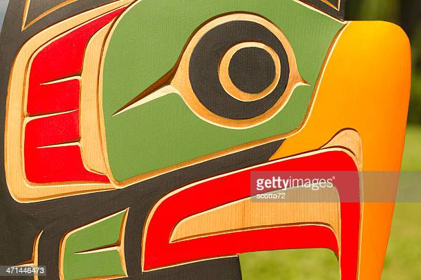bald eagle woodcarving - totem pole stock photos and pictures