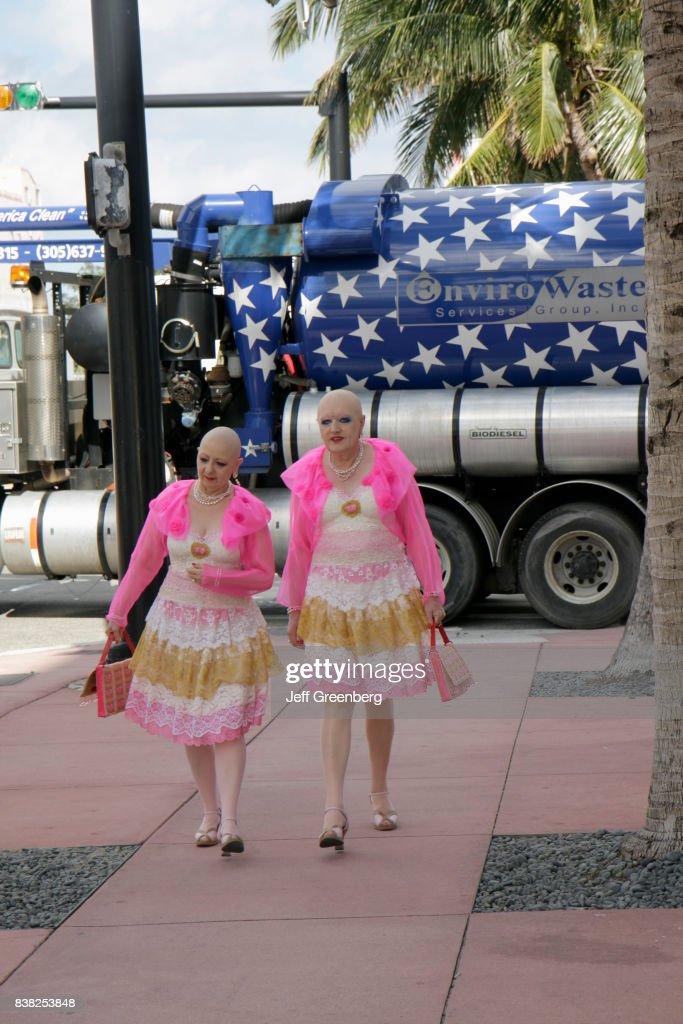 Bald Hermaphrodite Twins of art, Eva and Adele on Collins Avenue. : News Photo