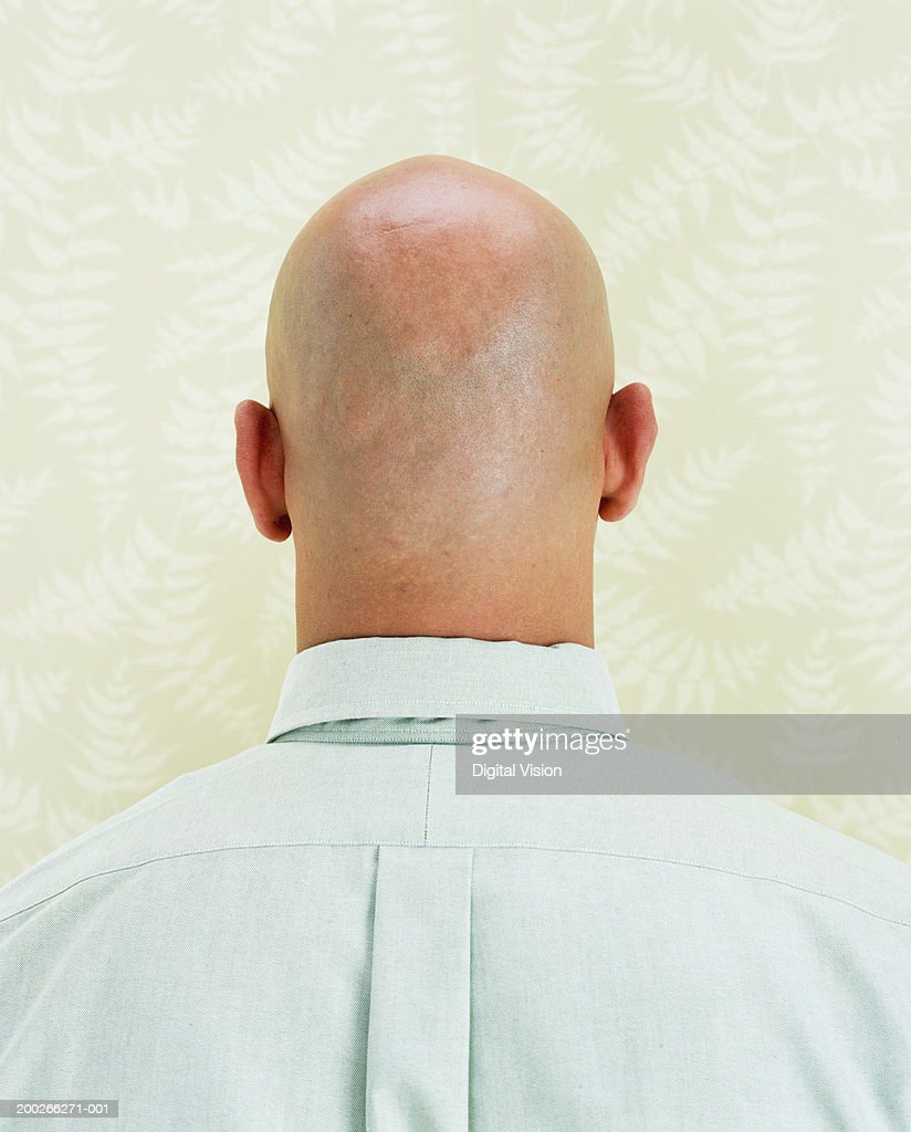 Bald man, close-up, rear view : Stock Photo