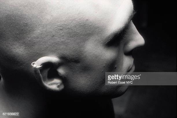 Bald man in profile