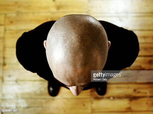 bald man, overhead view - human head stock pictures, royalty-free photos & images