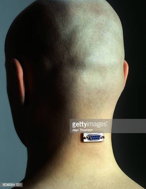 bald man with socket in neck, close-up, rear view - datorport bildbanksfoton och bilder