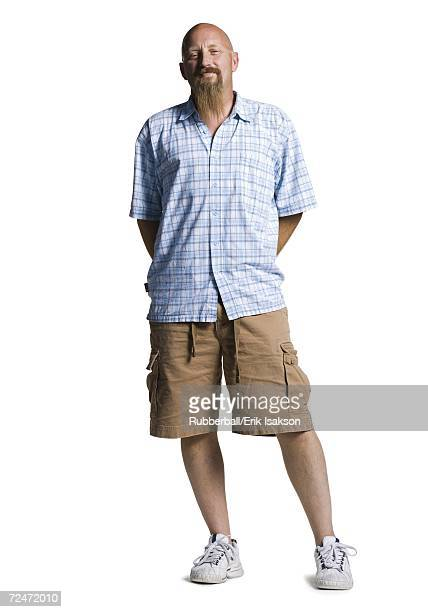 bald middle aged man with a long goatee - hillbilly stock pictures, royalty-free photos & images