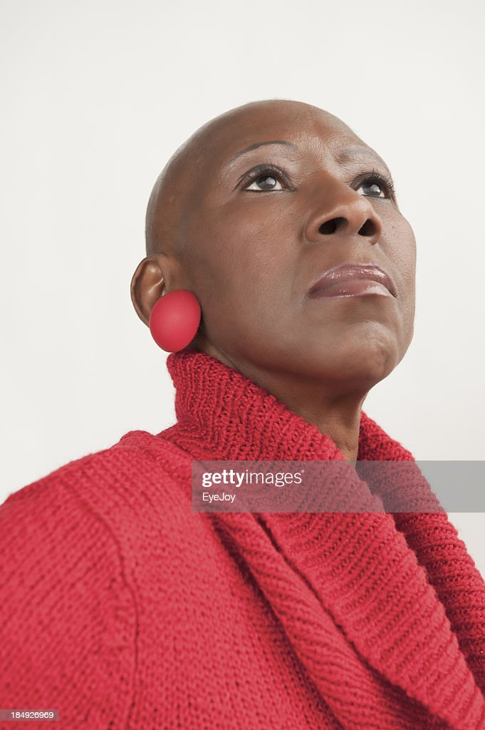 Bald Senior African American Woman Stands Proudly After Chemotherapy : Stock Photo