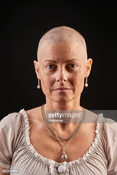 Bald woman in chemotherapy fighting cancer