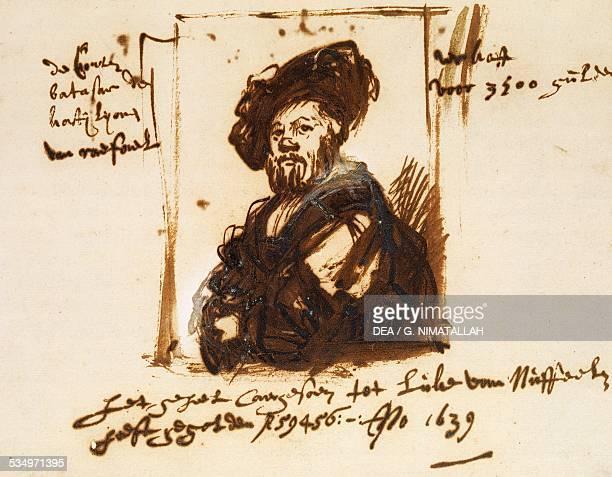 Baldassarre Castiglione by Rembrandt sketch from the portrait by Raphael Netherlands 17th century Vienna Albertina