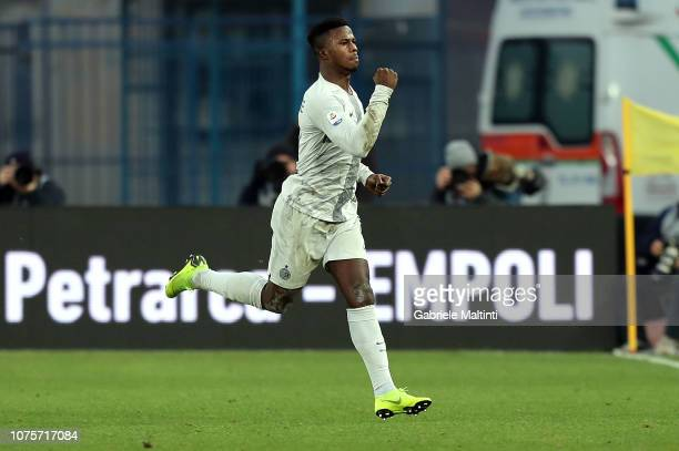 Balde Diao Keita of FC Internazionale celebrates after scoring a goal during the Serie A match between Empoli and FC Internazionale at Stadio Carlo...