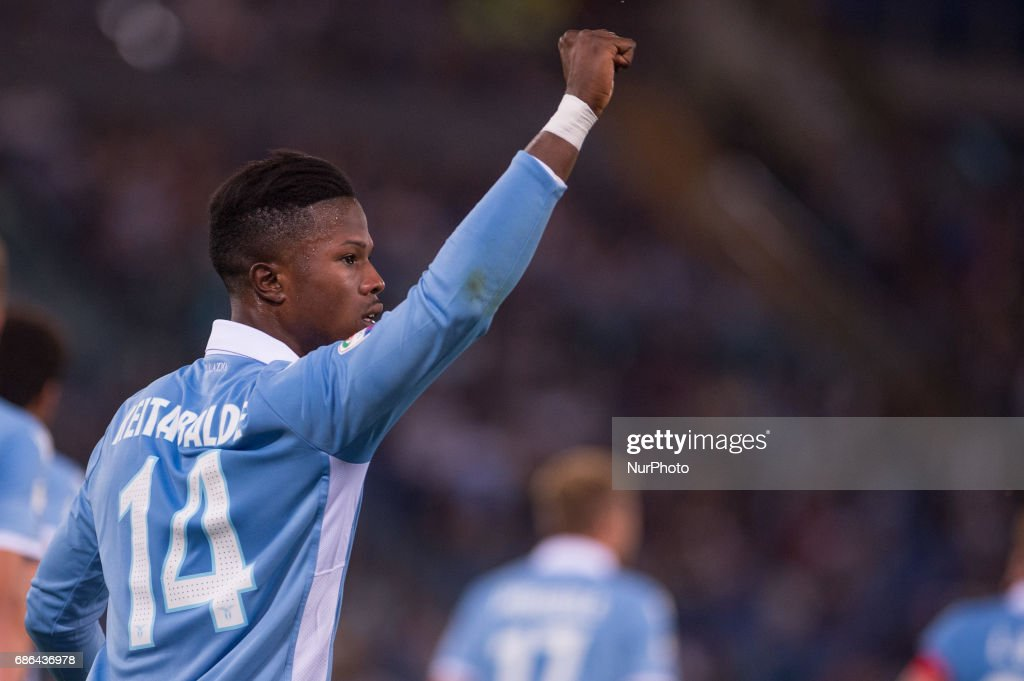 Balde Diao Keita of Lazio celebrates scoring first goal with a penalty kick during the Serie A match between Lazio v Internazionale on May 21, 2017 in Rome, Italy.