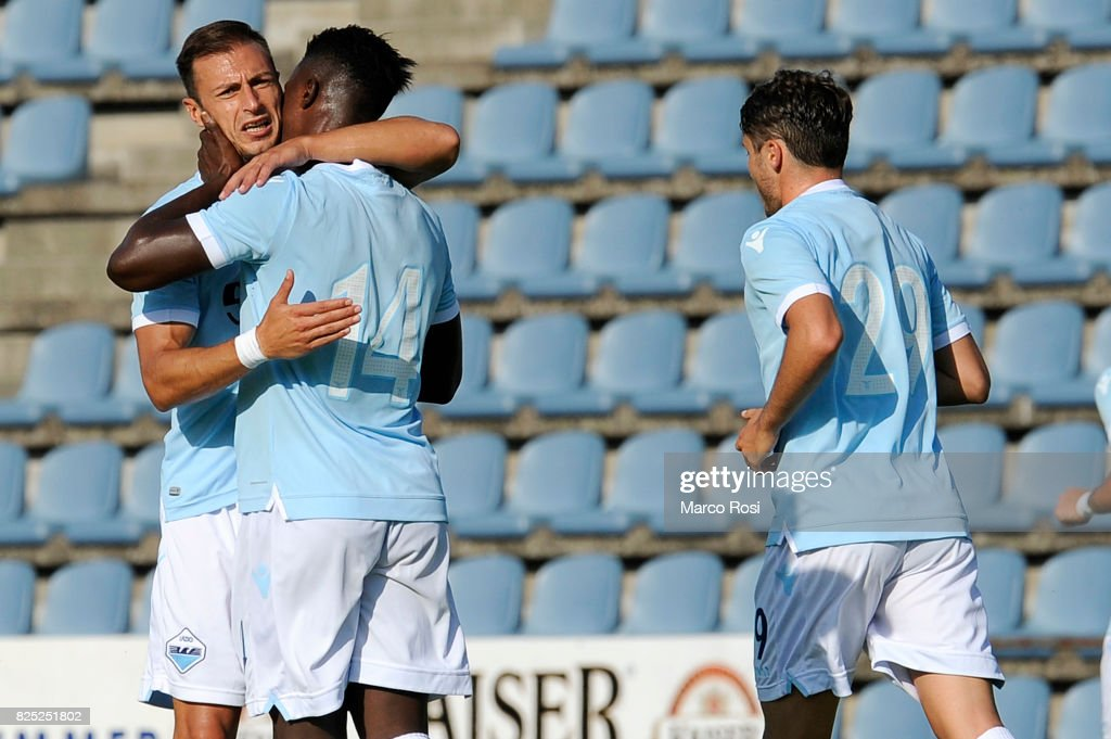 Balde Diao Keita of SS Lazio celebrates a second goal with his team mate during the pre-season friendly match between SS Lazio and F.C Kufstein on August 1, 2017 in Kufstein, Austria.