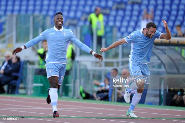 Balde Diao Keita of SS Lazio celebrates a third goal during the Serie A match between SS Lazio and US Citta di Palermo at Stadio Olimpico on April 23...