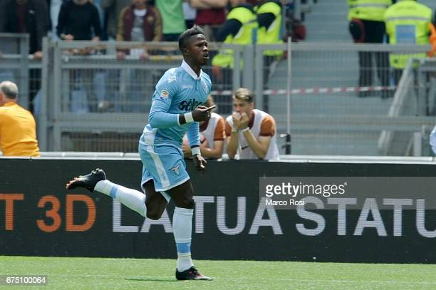 Balde Diao Keita of SS Lazio celebrates the opening goal during the Serie A match between AS Roma and SS Lazio at Stadio Olimpico on April 30 2017 in...