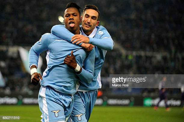 Balde Diao Keita of SS Lazio celebrates with his team mate after the opening goal during the Serie A match between SS Lazio and ACF Fiorentina at...