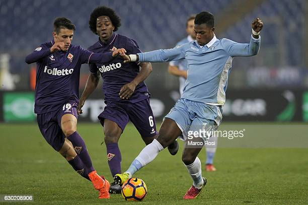 Balde Diao Keita of SS Lazio competes for the ball with Cristian Tello ACF Fiorentina during the Serie A match between SS Lazio and ACF Fiorentina at...