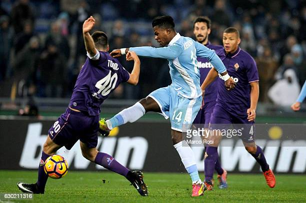 Balde Diao Keita of SS Lazio scores the opening goal during the Serie A match between SS Lazio and ACF Fiorentina at Stadio Olimpico on December 18...