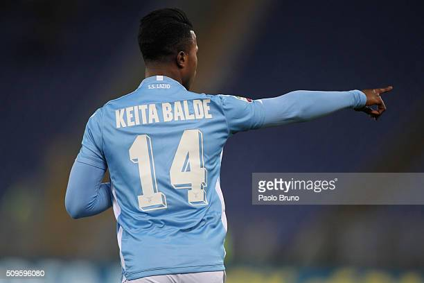 Balde Diao Keita of SS Lazio scores the team's fourth goal during the Serie A match between SS Lazio and Hellas Verona FC at Stadio Olimpico on...