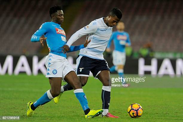 Balde Diao Keita SS Laziocompete for the ball with Amadou Diawara of SSC Napoli during the Serie A match between SSC Napoli and SS Lazio at Stadio...