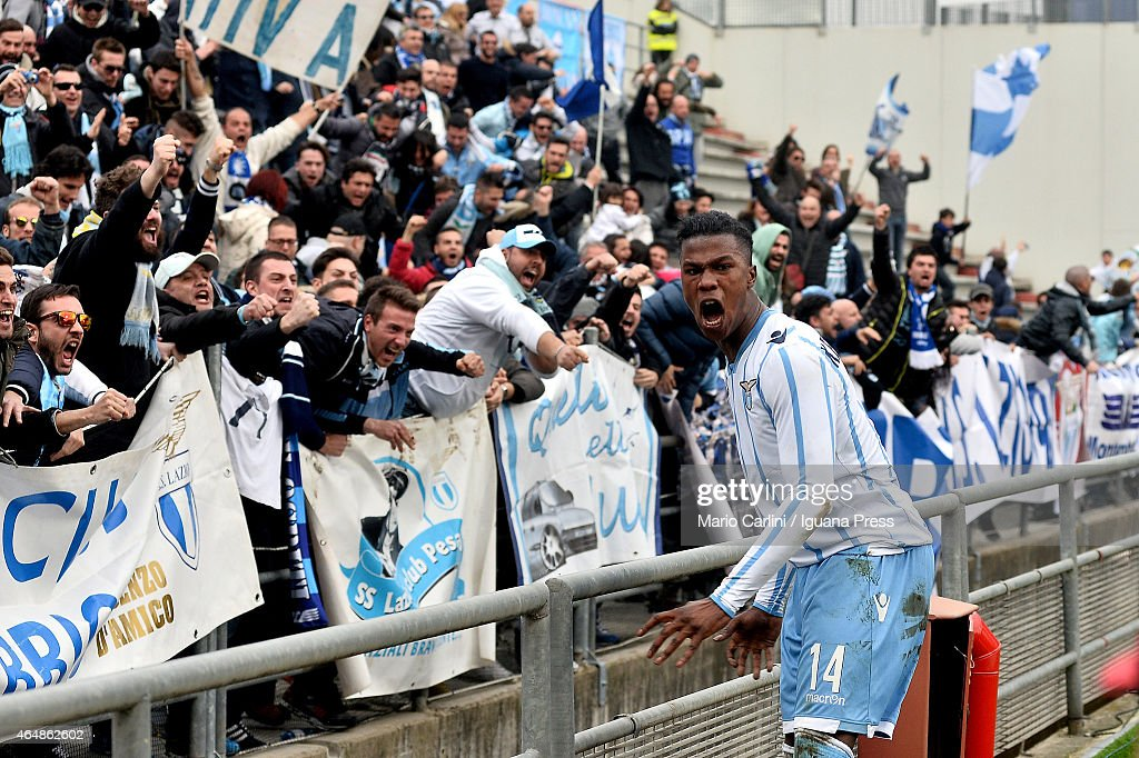 Balde Keita # 14 of SS Lazio celebrates after the opening goal scored by his team-mate Felipe Anderson # 7 of SS Lazio (not in picture) during the Serie A match between US Sassuolo Calcio and SS Lazio on March 1, 2015 in Reggio nell'Emilia, Italy.