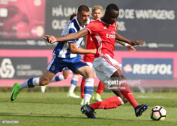 Balde of SL Benfica B in action during the Segunda Liga match between SL Benfica B and FC Porto B at Caixa Futebol Campus on April 23 2017 in Seixal...